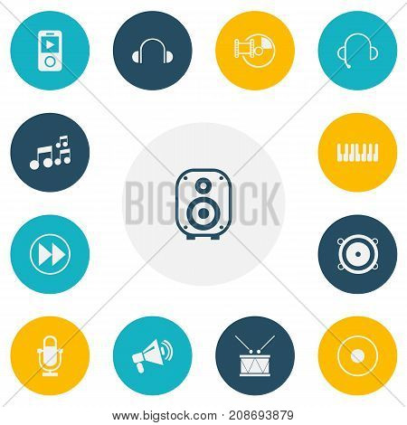 Set Of 13 Editable Music Icons. Includes Symbols Such As Mp3 Player, Earflaps, Studio Device And More