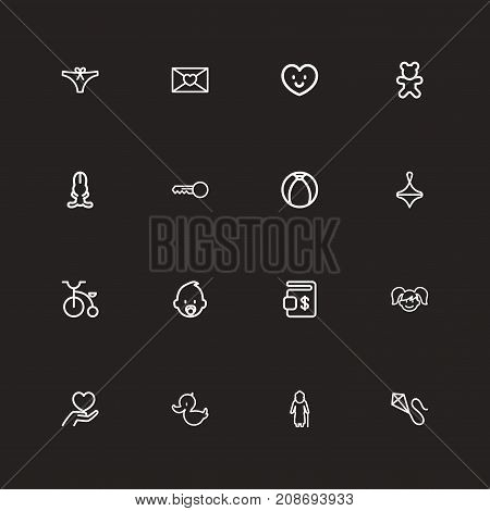 Set Of 16 Editable Kin Outline Icons. Includes Symbols Such As Grandmother, Affection Letter, Daughter