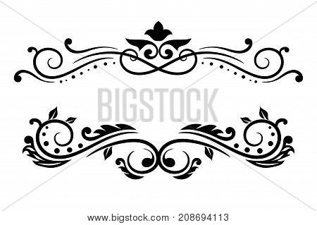 Decorative dividers. Vintage ornaments. Vector illustration isolated on white background