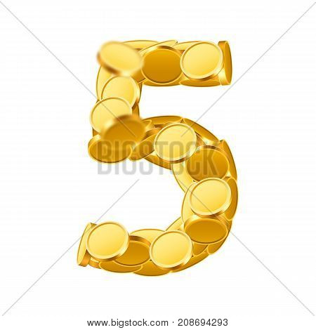 Vector font style made of golden coins. Coin numbers. Number 5. Five. Vector illustration