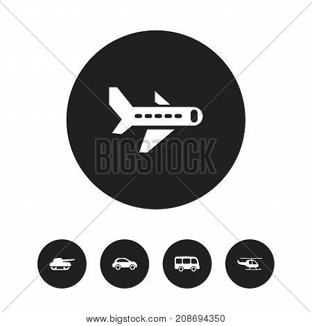 Set Of 5 Editable Transport Icons. Includes Symbols Such As Airplane, Car Vehicle, Chopper And More