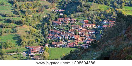 The Village Of Orle In Asturias.