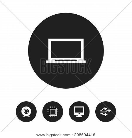 Set Of 5 Editable Laptop Icons. Includes Symbols Such As Universal Serial Bus, Screen, Display And More