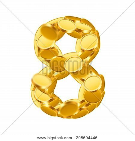 Vector font style made of golden coins. Coin numbers. Number 8. Eight. Vector illustration