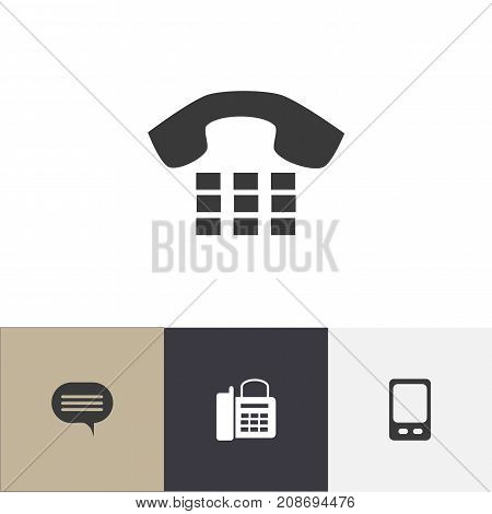 Set Of 4 Editable Device Icons. Includes Symbols Such As Forum, Call, Mobile And More