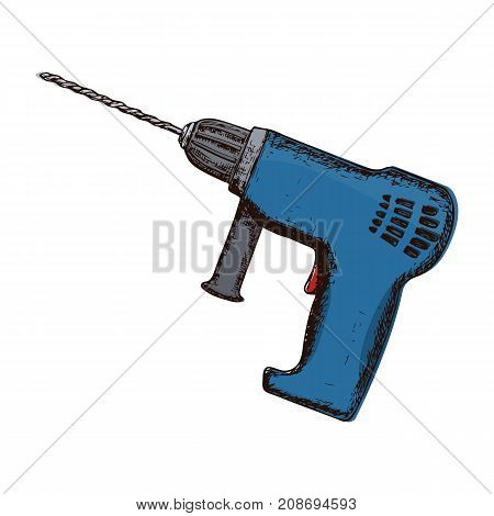 Drill on white background colorful sketch illustration of repair tool. Vector