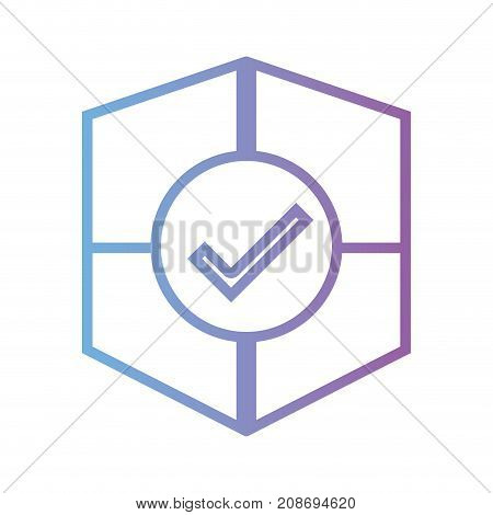 line shield security and protection element vector illustration