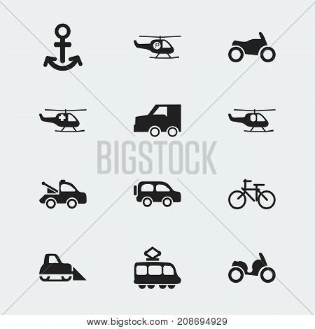 Set Of 12 Editable Transport Icons. Includes Symbols Such As Moped, Helicopter, Shipping And More
