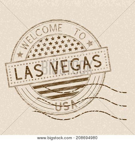 Welcome to Las Vegas, USA. Tourist brown stamp with US national flag on beige background. Vector illustration