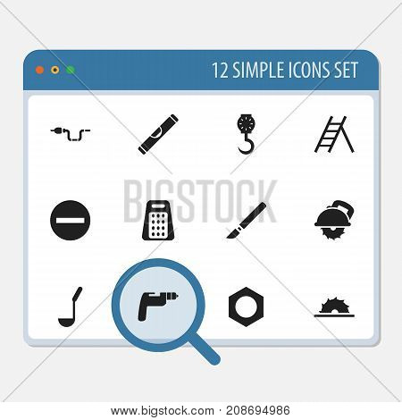 Set Of 12 Editable Apparatus Icons. Includes Symbols Such As Minus, Medical Instrument, Drilling Machine And More