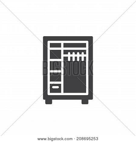 Closet icon vector, filled flat sign, solid pictogram isolated on white. Wardrobe symbol, logo illustration.