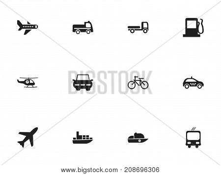 Set Of 12 Editable Transportation Icons. Includes Symbols Such As Cycle, Transportation, Cab And More