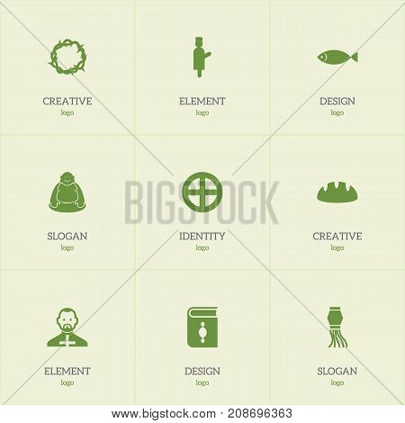 Set Of 9 Editable Religion Icons. Includes Symbols Such As Baguette, Fish, Begging And More