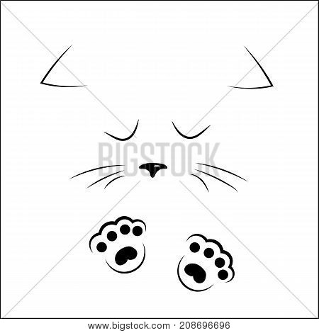 vector black outline drawing cute sad cat face with paws