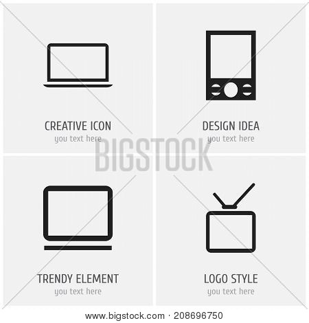Set Of 4 Editable Gadget Icons. Includes Symbols Such As Telly, Notebook, Music Phone And More