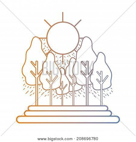 line natural landscape with trees and bush vector illustration