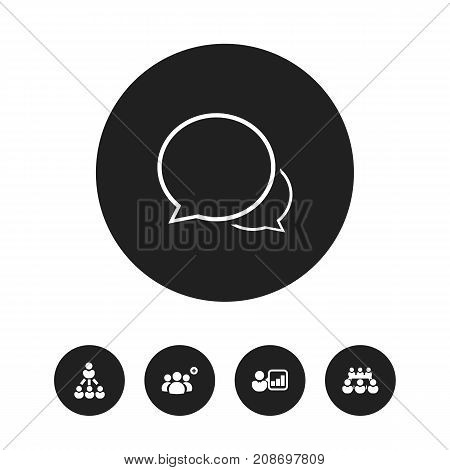 Set Of 5 Editable Business Icons. Includes Symbols Such As Debate, Leader, Conversation And More
