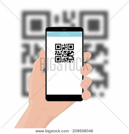The mobile phone smartphone in hand scans the QR code