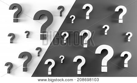 Black And White Question Marks Background. 3D Rendering.