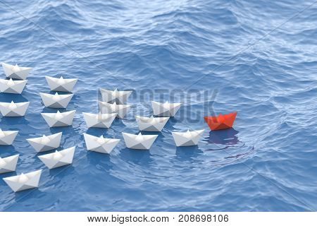 Leadership Concept, Red Leader Boat Leading Whites, In The Waves Of The Sea. 3D Rendering.
