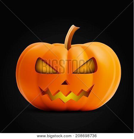 Pumpkin face on background. Pumpkin scary face halloween. Vector stock.