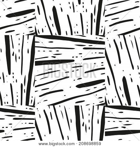 Striped grunge black and white texture. Astract geometric seamless pattern with ink brush. Hand drawn illustration background.