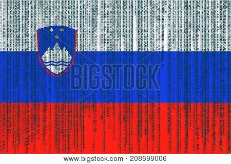 Data Protection Slovenia Flag. Slovenia Flag With Binary Code.
