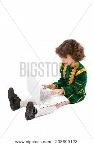 Child Blogging In Internet, Concentrated Boy With Laptop