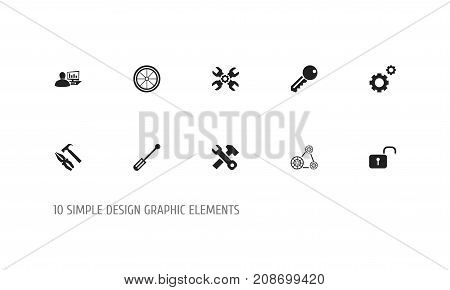 Set Of 10 Editable Mechanic Icons. Includes Symbols Such As Opened Padlock, Computer Statistics, Pliers Hammer And More