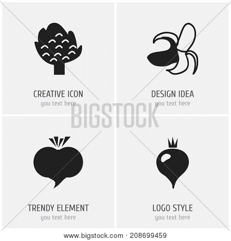 Set Of 4 Editable Berry Icons. Includes Symbols Such As Banana, Turnip, Radish And More