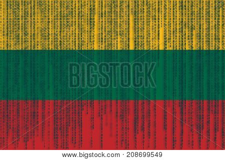 Data Protection Lithuania Flag. Lithuanian Flag With Binary Code.