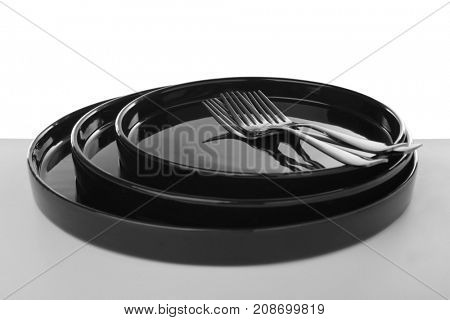 Tableware on white background