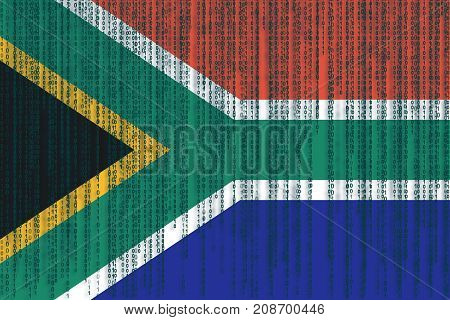 Data Protection South Africa Flag. South Africa Flag With Binary Code.