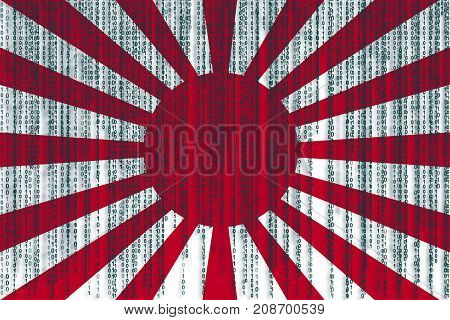 Data Protection Rising Sun Japan Flag. Japan Flag With Binary Code.