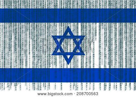 Data Protection Israel Flag. Israel Flag With Binary Code.