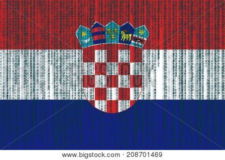 Data Protection Croatia Flag. Croatian Flag With Binary Code.