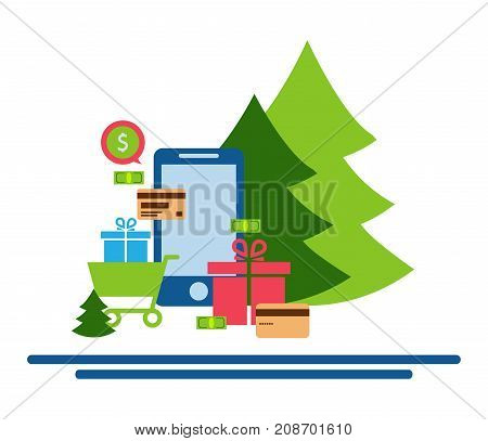 Mobile online store smartphone cart : concept of mobile phone order purchase internet shop showcase ecommerce.Festive shopping online. Christmas shopping.
