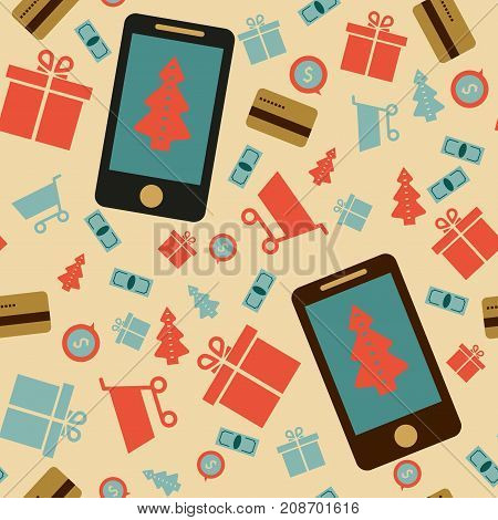 Mobile online store smartphone cart : concept of mobile phone order purchase internet shop showcase ecommerce. seamless pattern.Vector illustration. Eps 10. Festive shopping online. Christmas shopping.