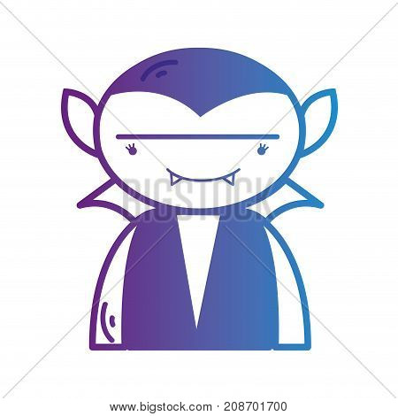 line boy vampire with teeth and cap vector illustration