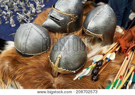 Helmets And Weapons Of Medieval Knights
