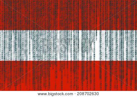 Data Protection Austria Flag. Austria Flag With Binary Code.