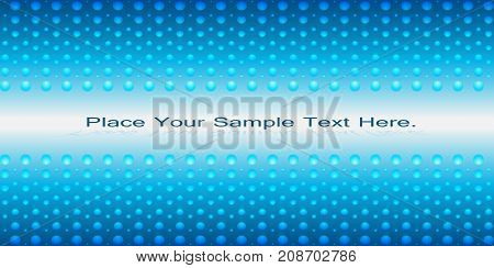 Bright positive blue background with spheres. Radiance. Vector illustration. Panorama.