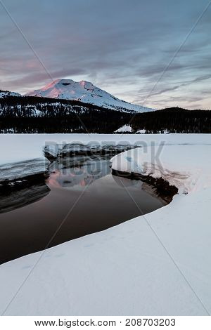 Soda Creek and South Sister in Winter