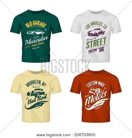 Vintage roadster, custom hot rod and muscle car vector logo t-shirt mock up set. Premium quality old sport vehicle logotype tee-shirt emblem illustration. Street wear superior retro tee print design.