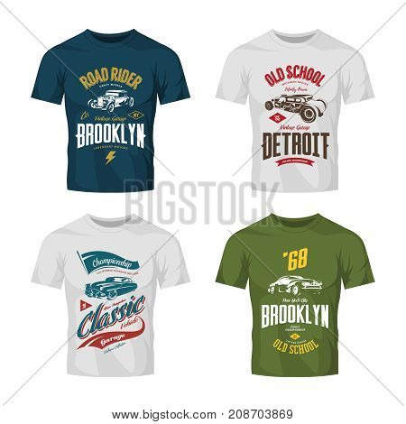 Vintage custom hot rod and classic car vector logo t-shirt mock up set. Premium quality old sport vehicle logotype tee-shirt emblem illustration. American street wear superior retro tee print design.