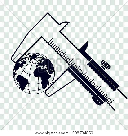 Silhouette Calipers Measuring The Earth