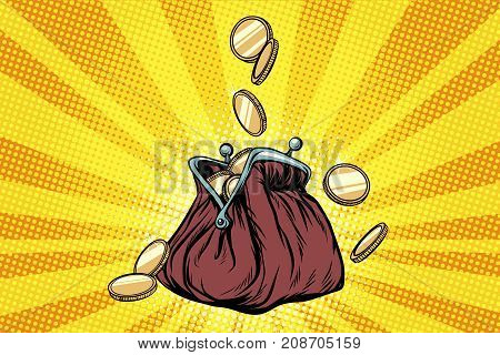Purse with gold coins. Pop art retro vector illustration