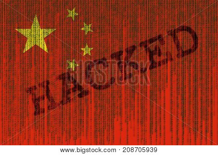 Data Hacked China Flag. Chines Flag With Binary Code.