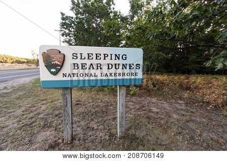 Glen Arbor, Michigan, USA - October 1, 2017: Entrance sign for the Sleeping Bear Dunes National Lakeshore located in the Lower Peninsula of Michigan.