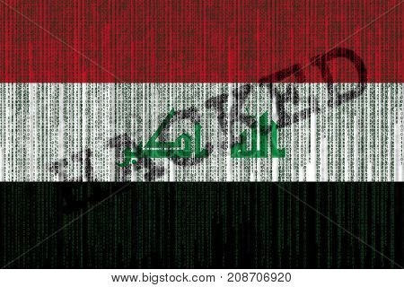 Data Hacked Iraq Flag. Iraq Flag With Binary Code.